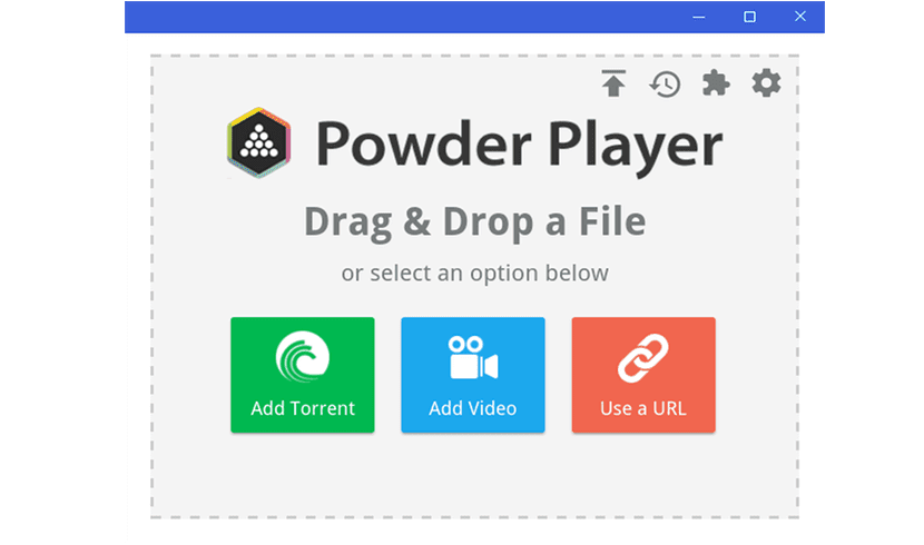 pantalla de inicio de Powder Player 1.10