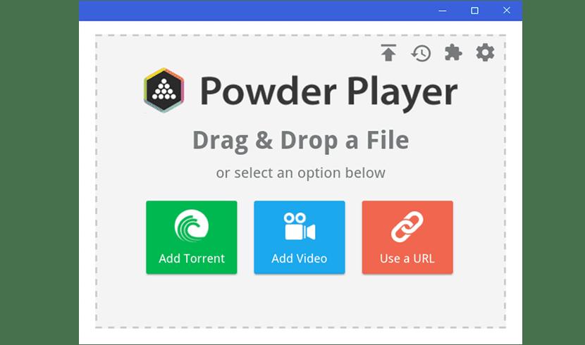 pantalla de inicio de Powder Player 1.10
