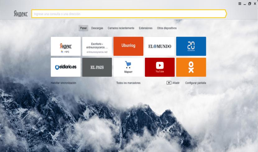 Página de inicio de Yandex Browser