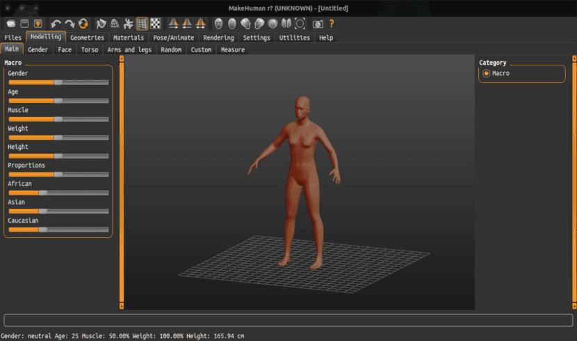 pantalla de inicio makehuman