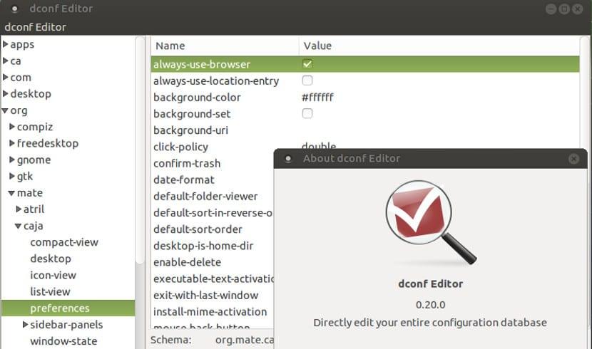 Captura de pantalla de la herramienta DConf
