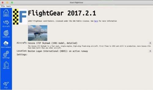 flightgear pantalla de inicio