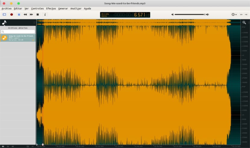 ocenaudio trabajando canción