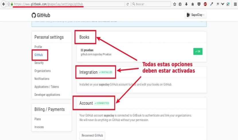 configuración de GitBook