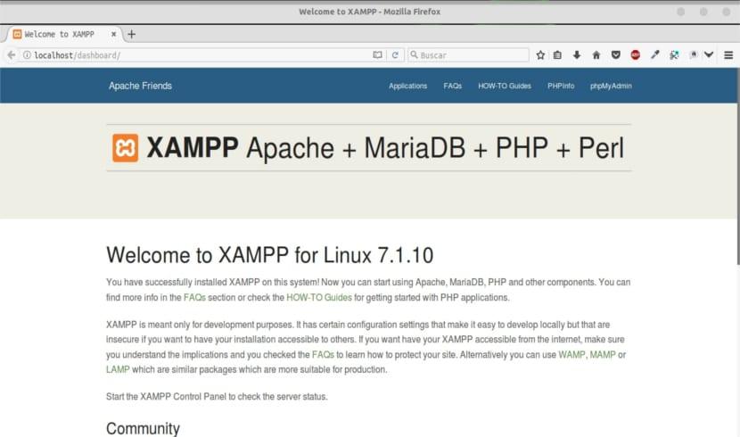 página web xampp dashboard