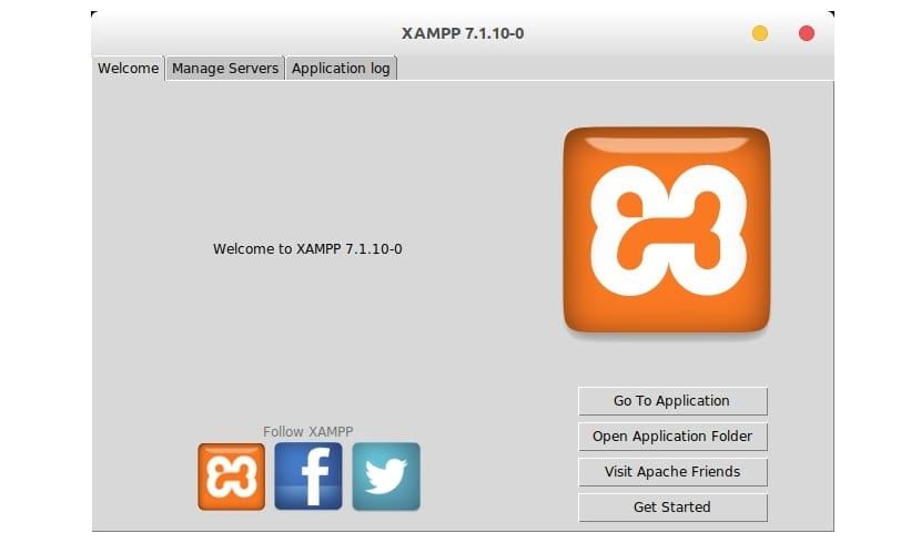 pantalla inicio xampp 7.1.10