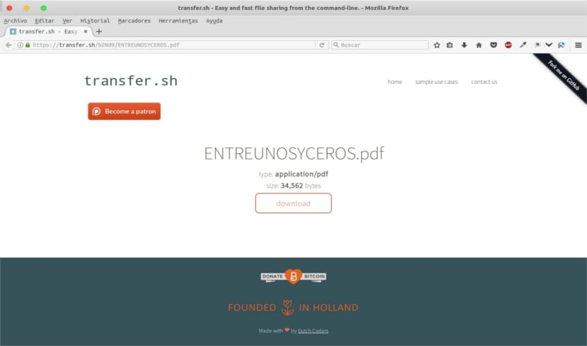 transfer.sh descarga desde navegador