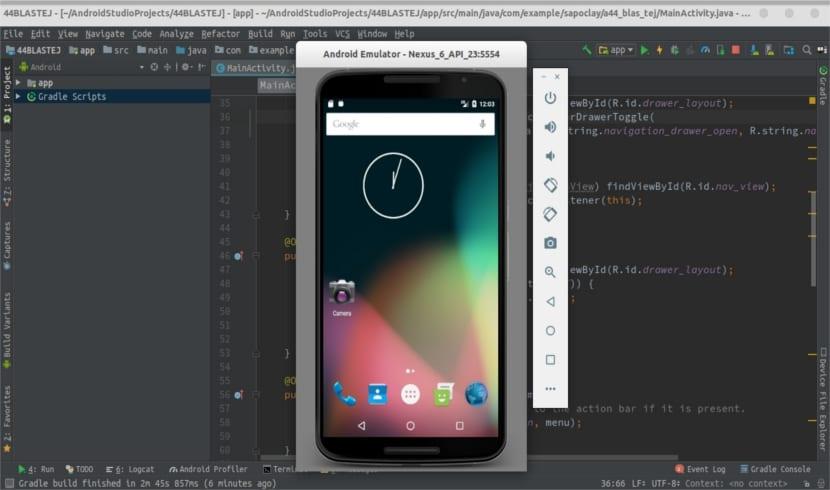 Android Studio funcionando con emulador