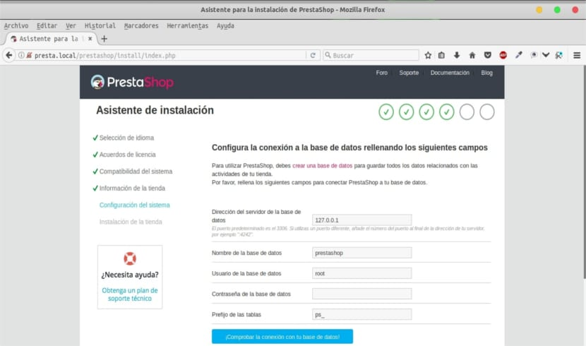 intento de creación de base de datos prestashop local