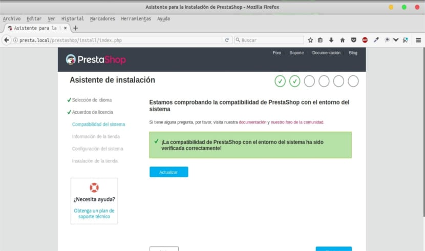 compatibilidad sistema prestashop local