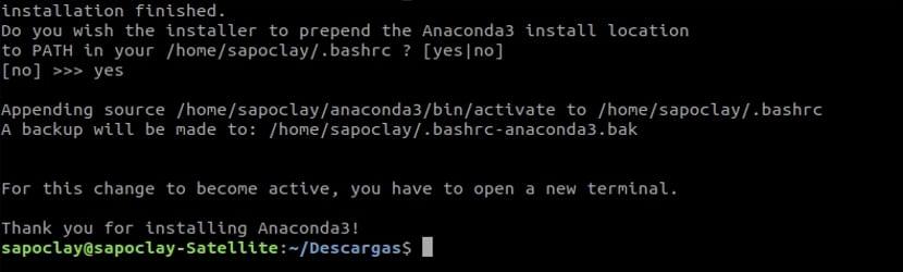finalizar instalacion anaconda