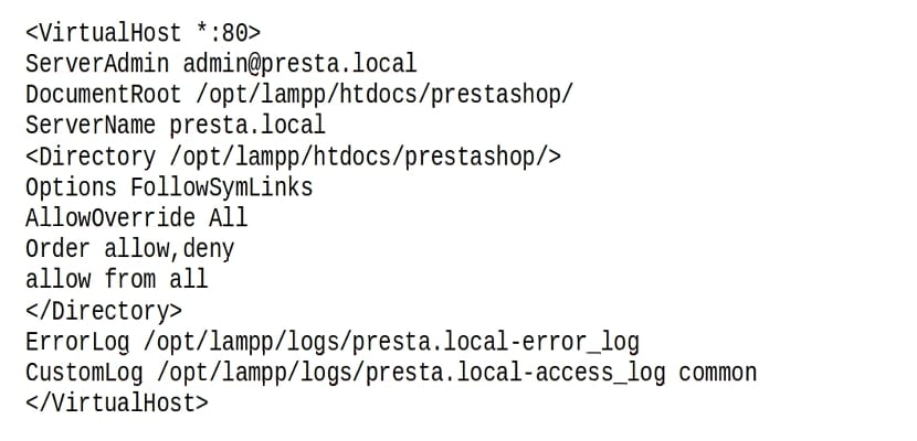 virtualhost Prestashop local