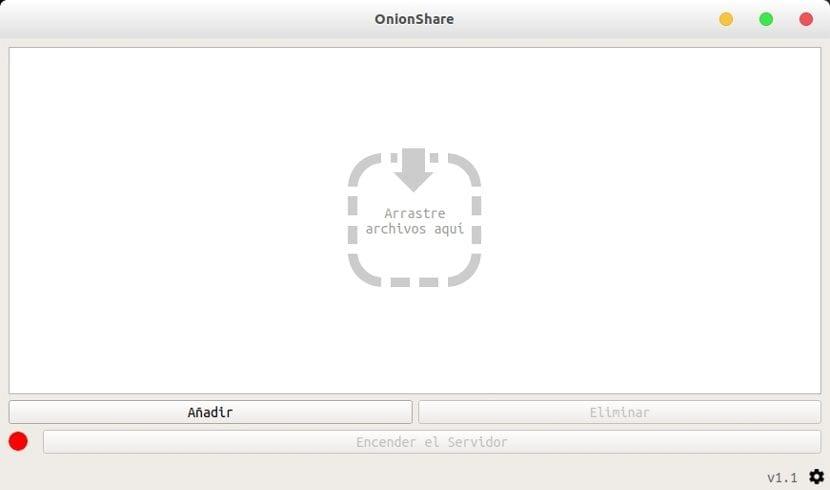 OnionShare pantalla principal