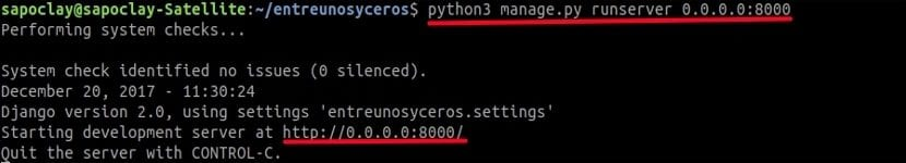 djando iniciar servidor consola
