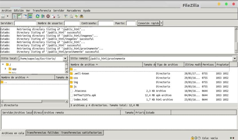 naveción archivos filezilla flatpak