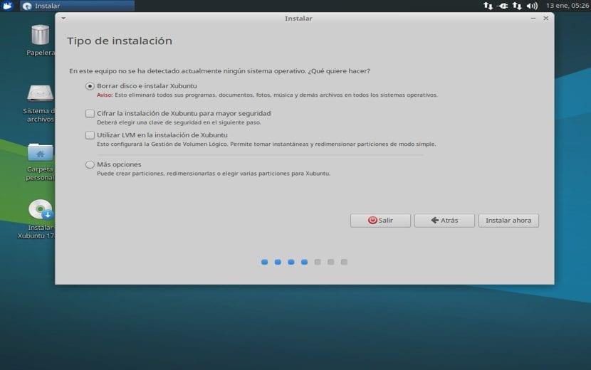 Opciones de disco Xubuntu 17.10