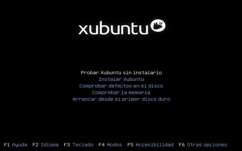 Panatalla de inicio Xubuntu
