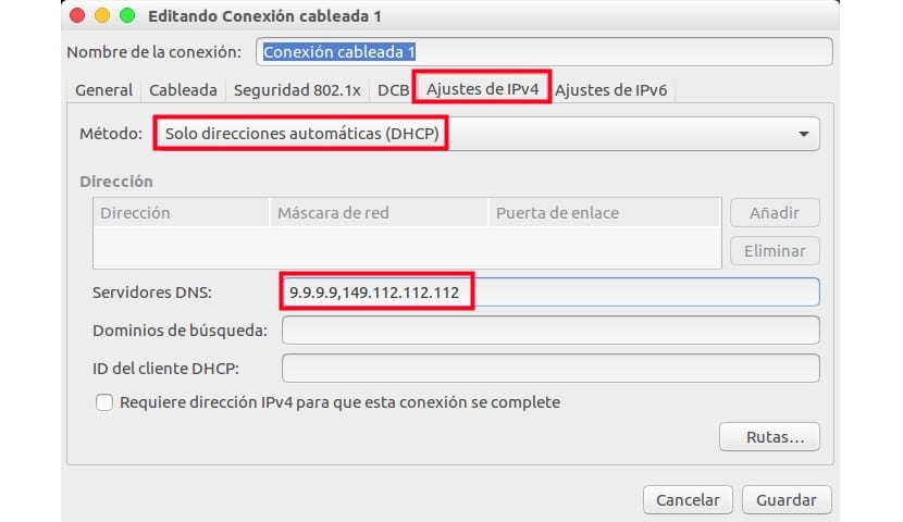 Editando conexión cableada Ubuntu 16.04