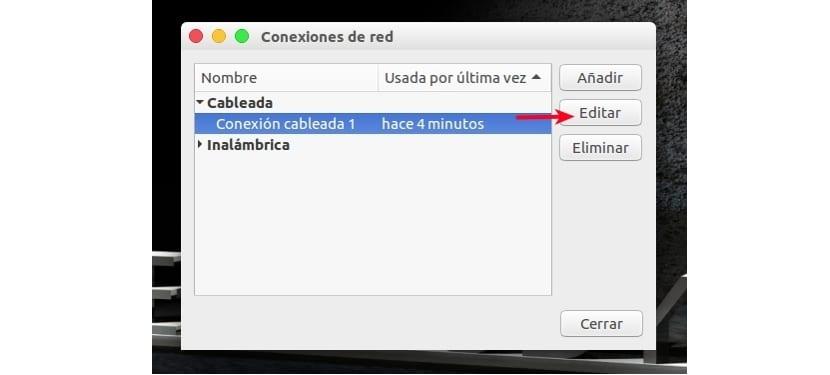 Panel de conexiones Ubuntu 16.04