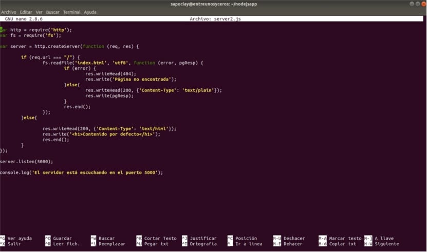 código servidor web nodejs puerto 5000