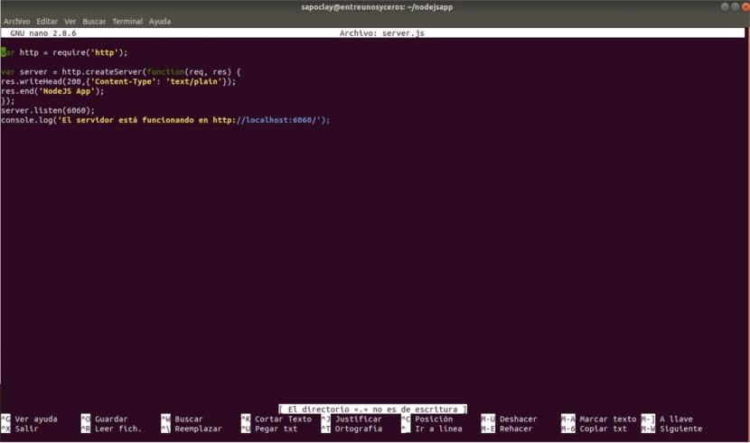 Código servidor web nodejs puerto 6060