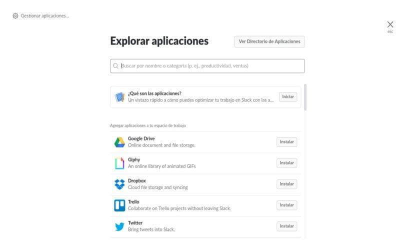 Slack aplicaciones de terceros disponibles