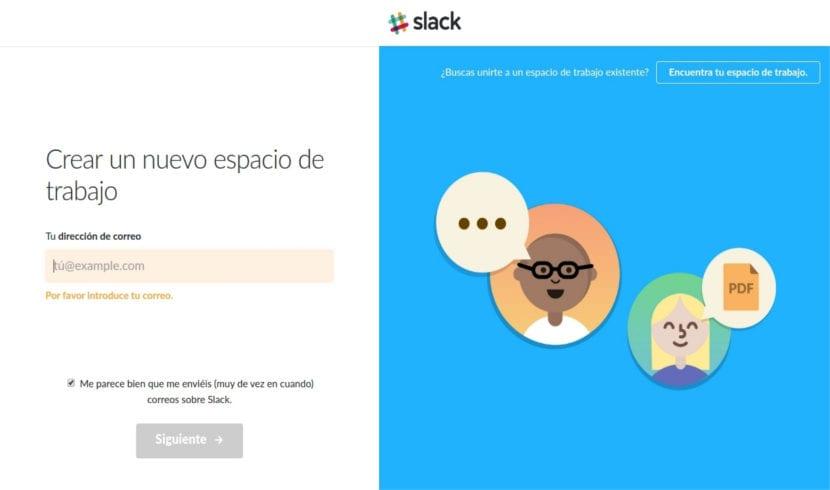 Slack crear espacio de trabajo