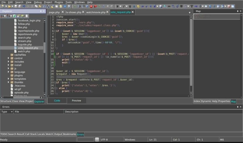 CodeLobster proyecto con errores