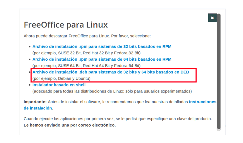FreeOffice descarga paquete .deb