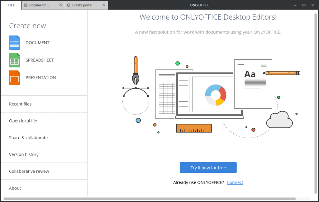 Captura de pantalla de la suite ofimática OnlyDesktop