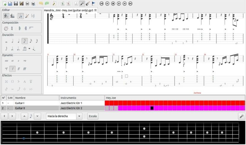 TuxGuitar proyecto guitarra Jimi Hendix