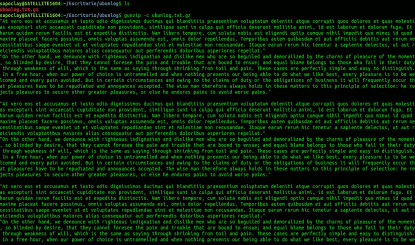 gunzip -c ver contenido archivos comprimidos