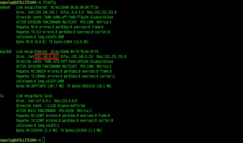 obtén IP privada ifconfig
