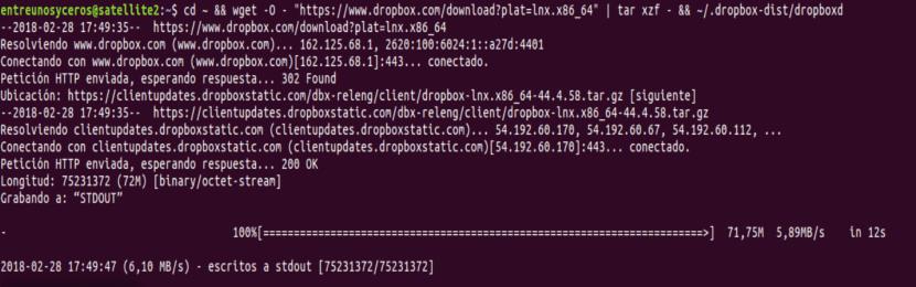 instalar dropbox desde la terminal
