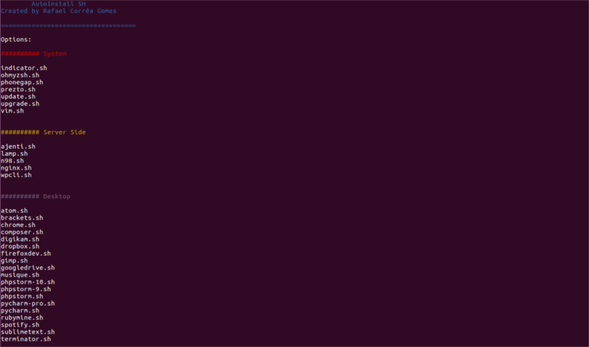 Simple SH programas