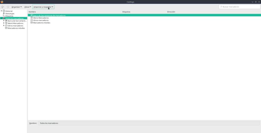 Captura de pantalla de los marcadores de Firefox