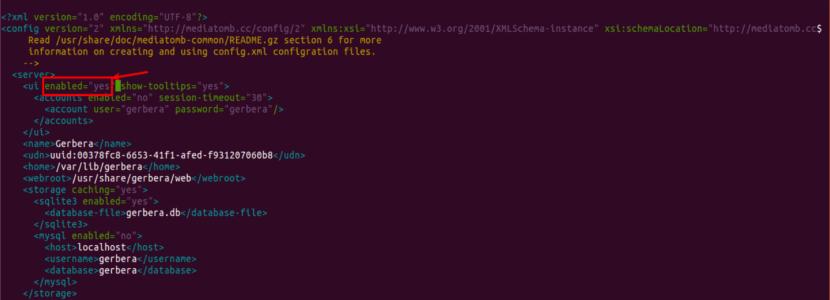config.xml gerbera inicio servidor