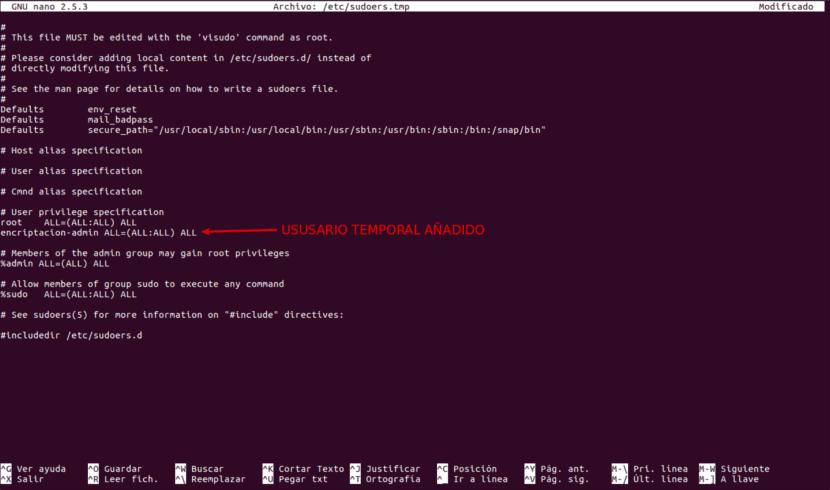 usuario temporal ad visudo ecryptfs