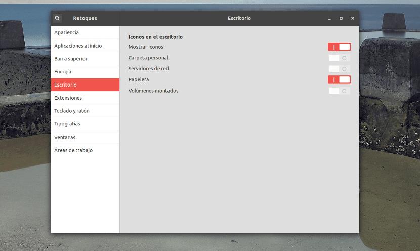 Captura de pantalla de Gnome Tweaks o Retoques