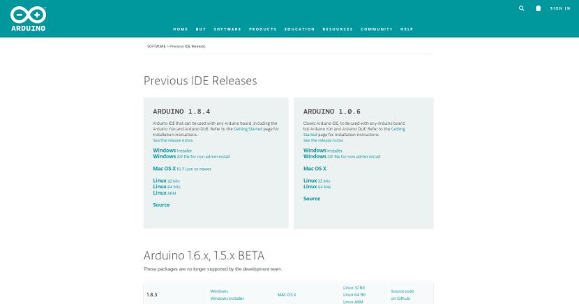 Captura de pantalla de la web de Arduino IDE