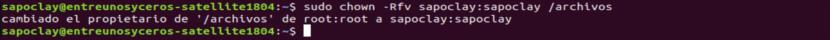 Cambio de propietario sistema de archivos ZFS
