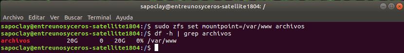 Cambio punto de montaje ZFS