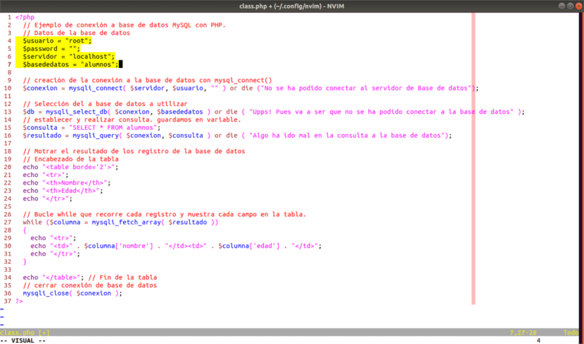 Código php de Neovim