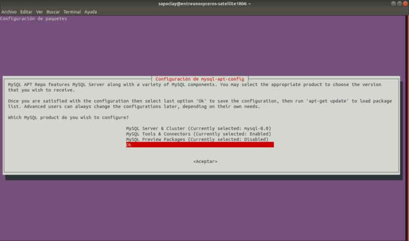 configuración de paquetes mysql 8.0