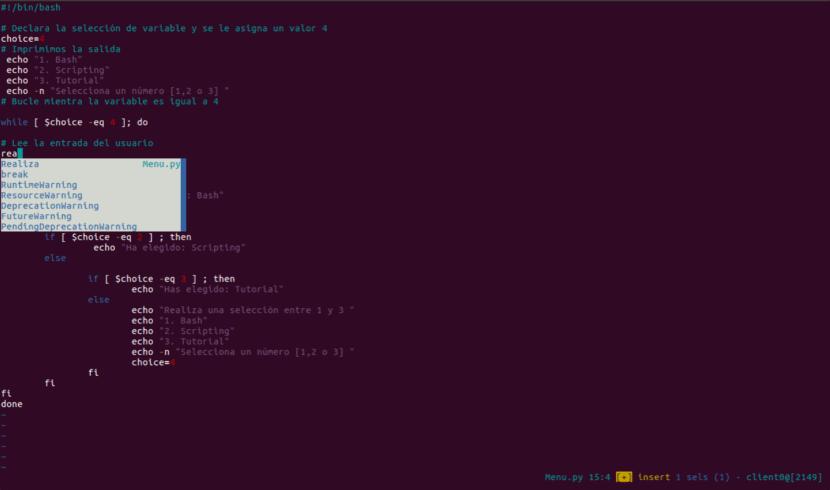 ecribiéndo código kakoune
