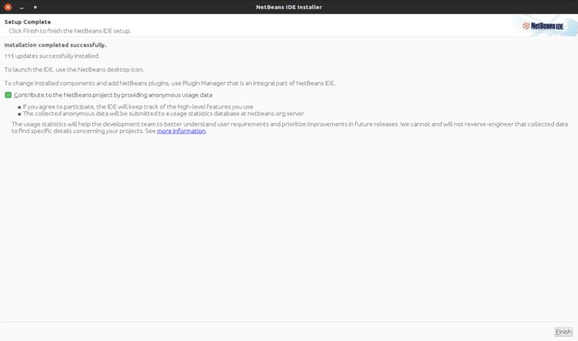 Instalación completada Netbeans IDE