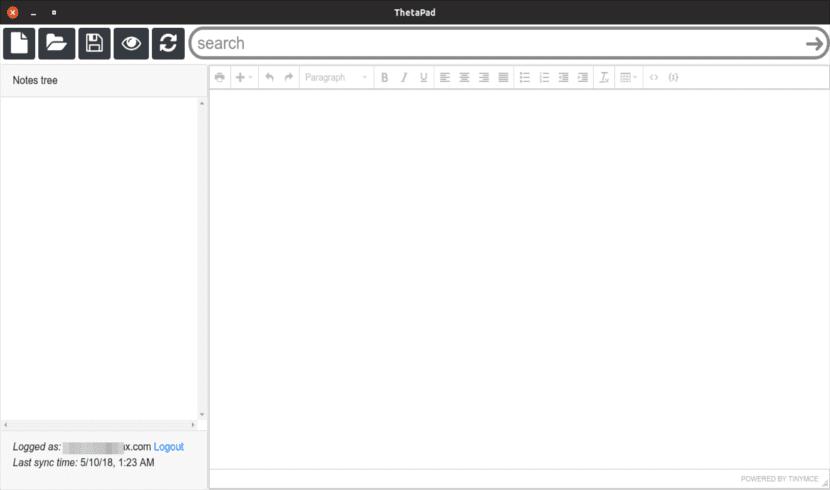 Interfaz de usuario de Thetapad