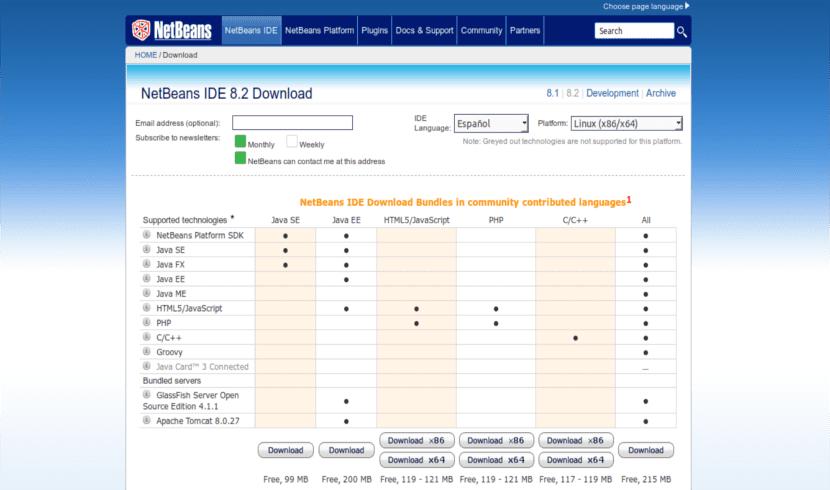 Página de descargas de Netbeans 8.2
