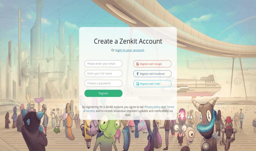 registro o login cuenta zenkit