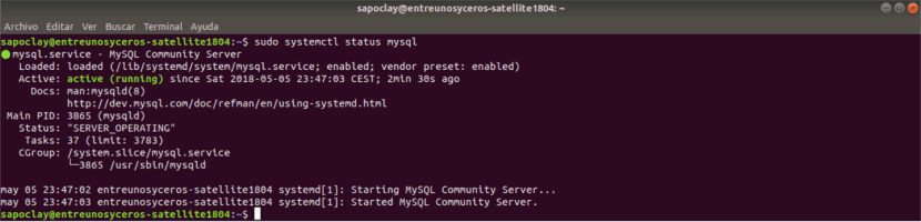 status servidor mysql